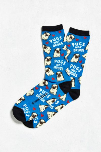 blue socks with pugs and pugs not drugs pattern